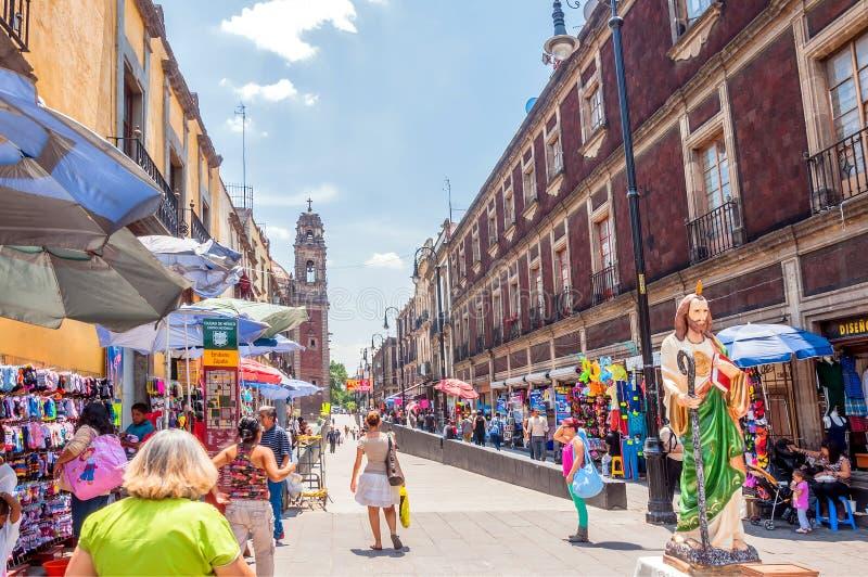 墨西哥城街市街道视图 免版税库存照片
