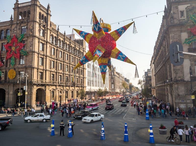 墨西哥城,中央南部美国,圣诞节时间 免版税库存图片