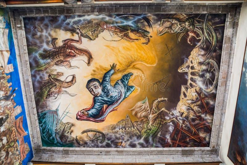 墨西哥城,墨西哥- 2018年10月25日 壁画艺术在查普尔特佩克城堡 库存图片