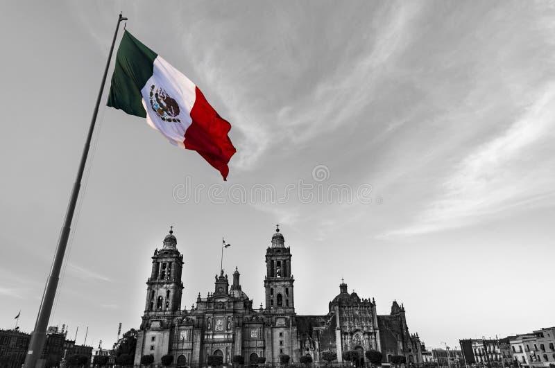 墨西哥城,风墨西哥的旗子 库存图片
