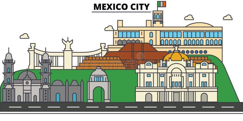 墨西哥城 城市地平线,建筑学,大厦,街道,剪影,风景,全景,地标,象 编辑可能 库存例证