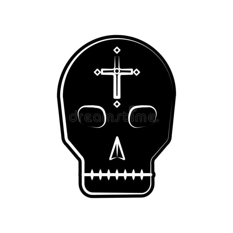 墨西哥头骨象 dia流动概念和网应用程序象的de muertos的元素 纵的沟纹,网站设计的平的象和 皇族释放例证