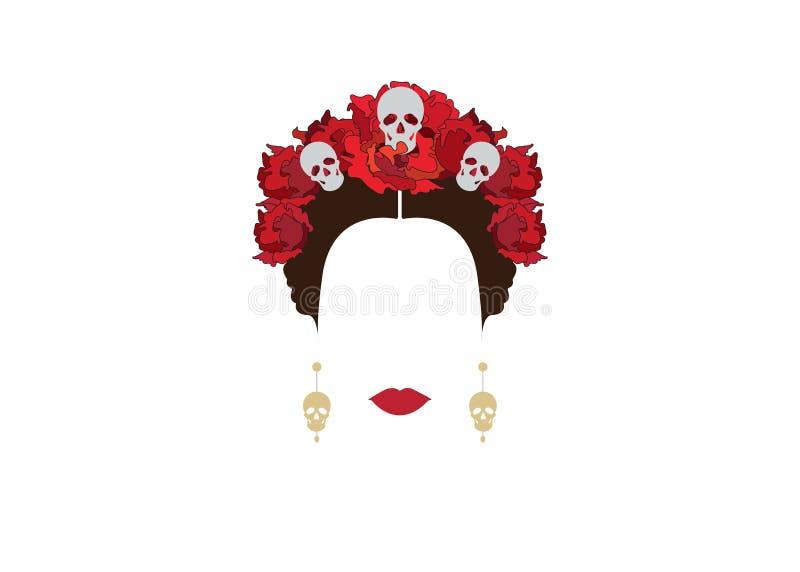 墨西哥妇女画象有头骨和红色花的,启发死亡圣神在墨西哥和卡特里纳,传染媒介例证孤立 皇族释放例证