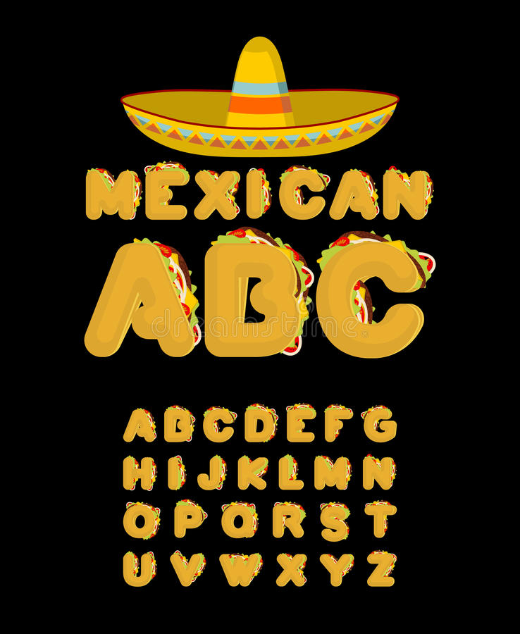 墨西哥字体 炸玉米饼字母表 炸玉米饼快餐ABC 传统 皇族释放例证