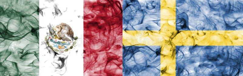 墨西哥对瑞典烟旗子 皇族释放例证