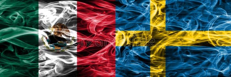 墨西哥对瑞典肩并肩被安置的烟旗子 墨西哥人和Sw 库存例证