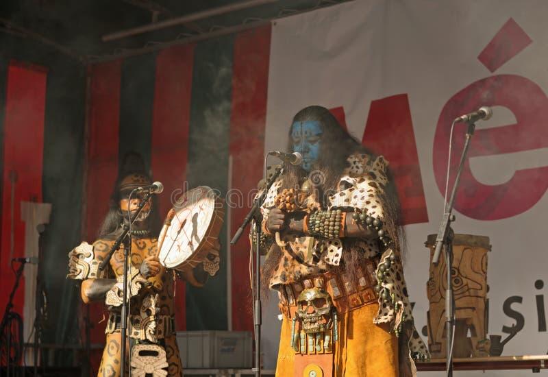 墨西哥小组Pueblo Maya de Xcaret 库存图片