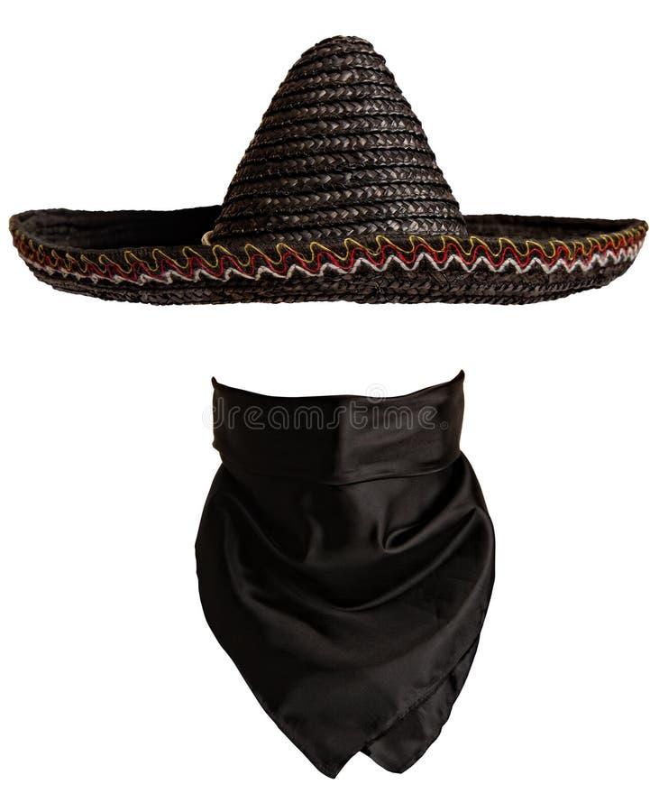 墨西哥帽班丹纳花绸 免版税库存照片