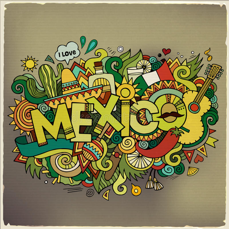 墨西哥手字法和乱画元素 库存例证