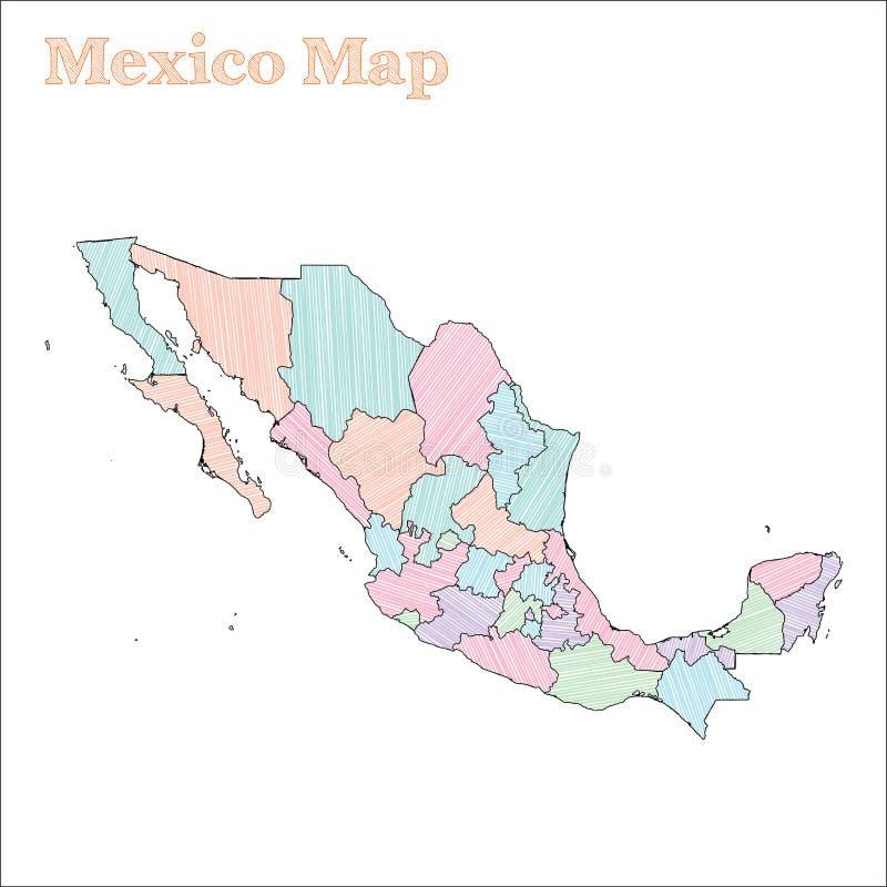 墨西哥手拉的地图 皇族释放例证