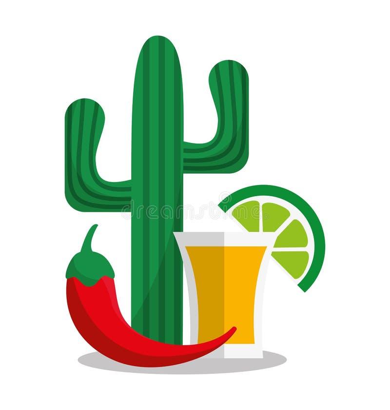 墨西哥文化设计龙舌兰酒  皇族释放例证