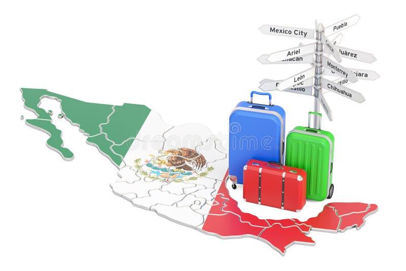 墨西哥旅行概念 在地图的墨西哥国旗与手提箱和si 库存例证