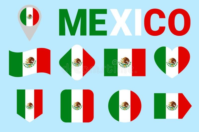 墨西哥旗子传染媒介集合 墨西哥国旗汇集 网,运动栏,国民,旅行,地理,爱国,设计 库存例证