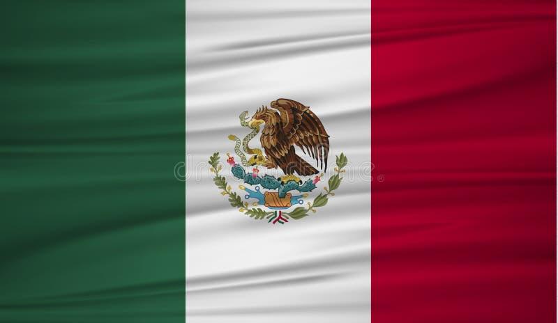墨西哥旗子传染媒介 导航墨西哥blowig旗子在风的 与布料纹理的墨西哥国旗背景 皇族释放例证
