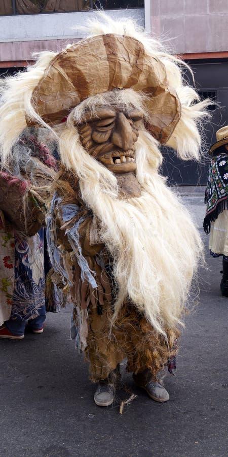 墨西哥有大面孔的舞蹈家语科库老人 库存照片
