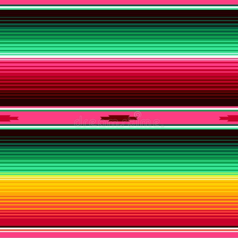 墨西哥毯子镶边无缝的传染媒介样式 Cinco de马约角党装饰或墨西哥食物餐馆的背景 库存例证