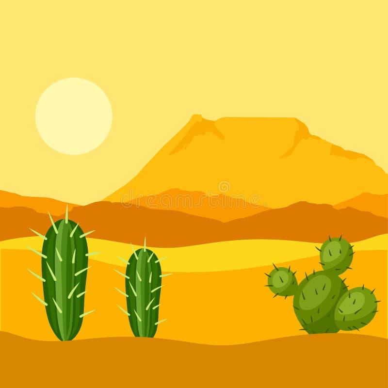 墨西哥沙漠的例证用仙人掌和 皇族释放例证