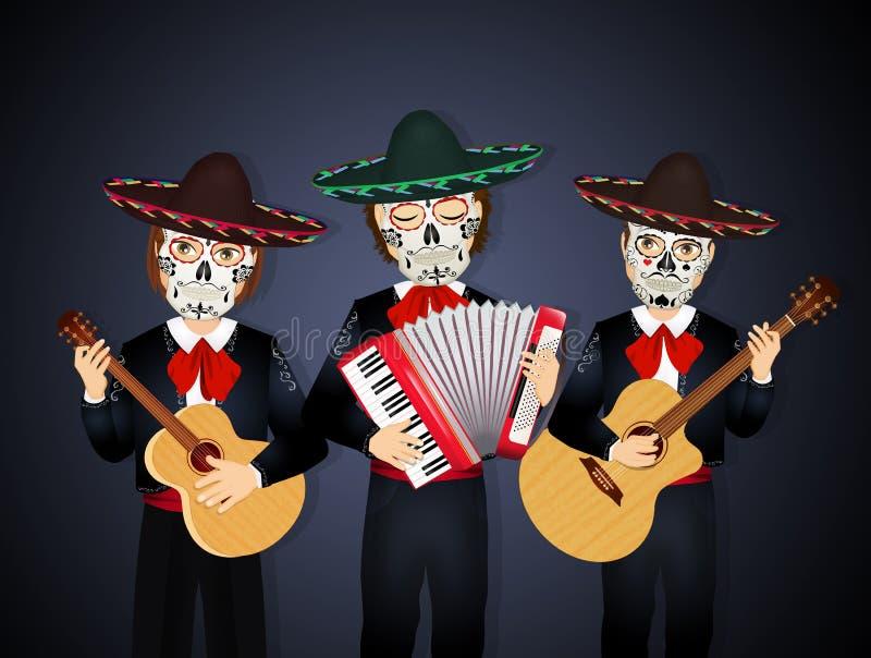 墨西哥流浪乐队带头骨面具为死亡日 向量例证