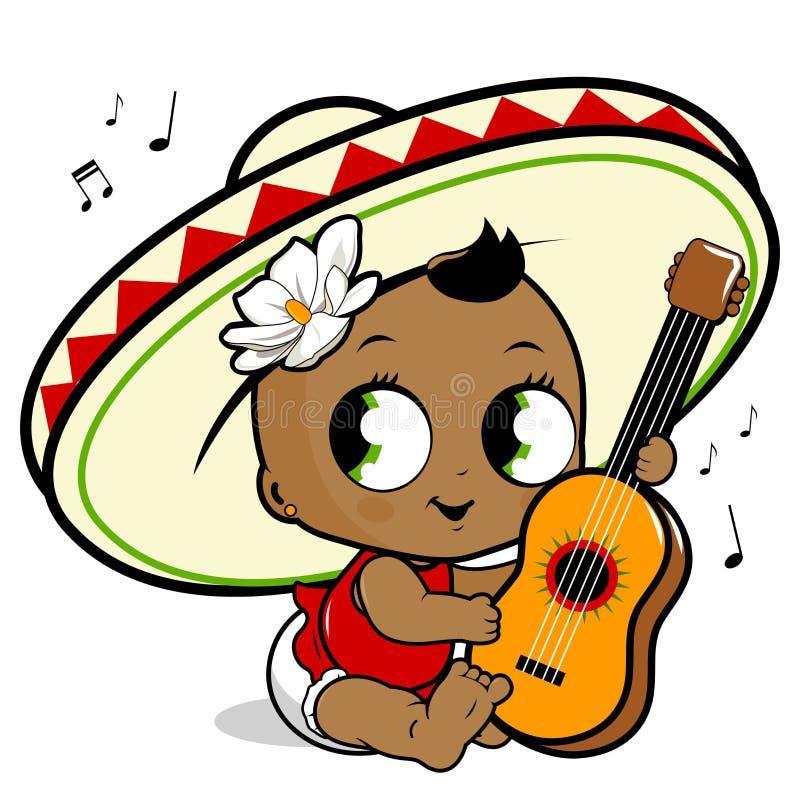 墨西哥流浪乐队弹吉他的女婴 皇族释放例证