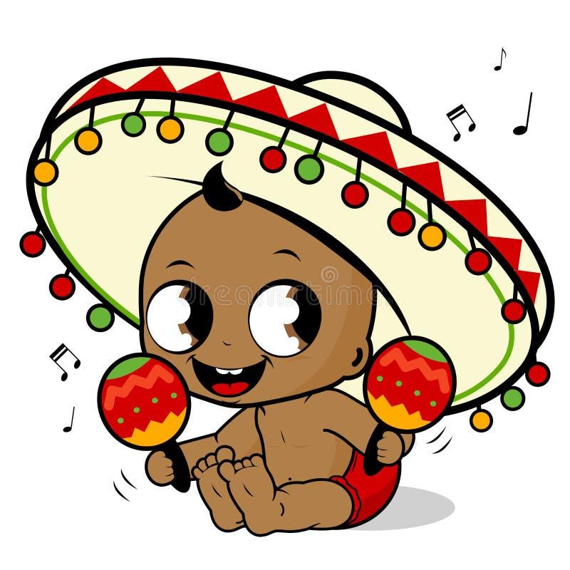 墨西哥流浪乐队播放maracas的男婴 向量例证