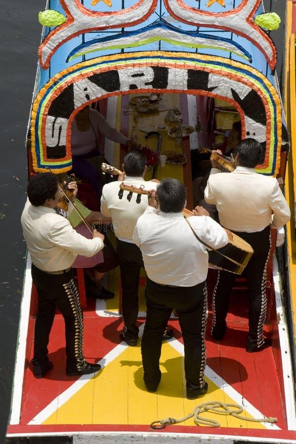 墨西哥流浪乐队xochimilco 免版税库存照片