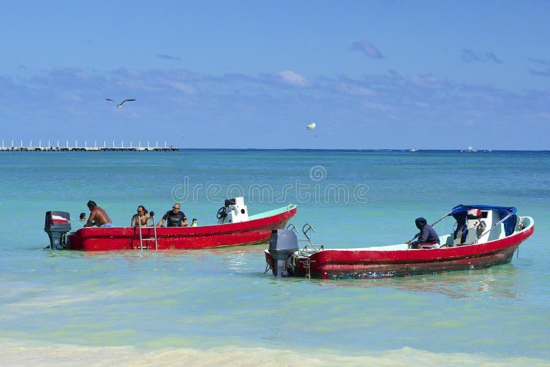 墨西哥海岸的,海滨del卡门渔夫 库存图片