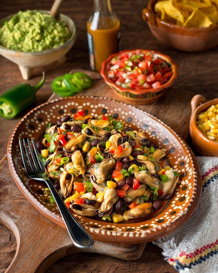墨西哥淡菜沙拉 库存照片