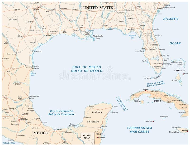 墨西哥湾路传染媒介地图 皇族释放例证