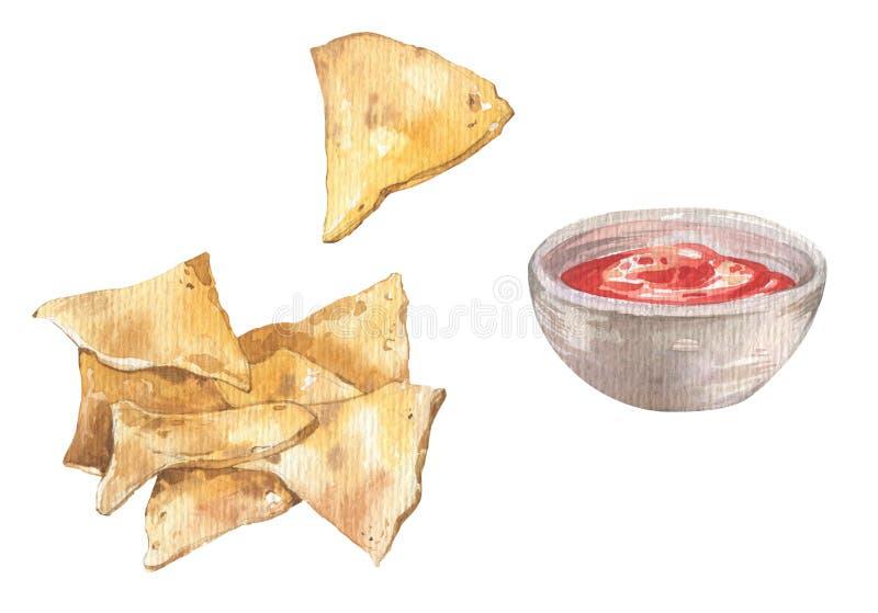 墨西哥烤干酪辣味玉米片芯片和辣调味汁调味汁 免版税库存图片