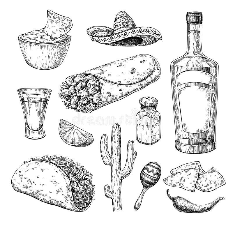 墨西哥烹调画 传统食物和饮料传染媒介illu 向量例证