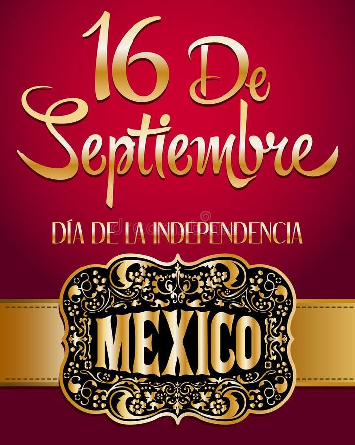 墨西哥独立日西班牙人文本  向量例证