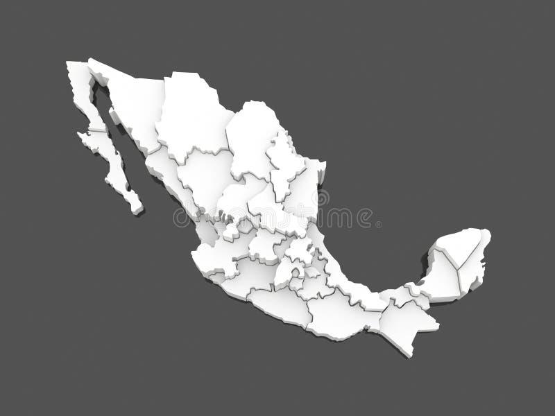 墨西哥的三维地图。 向量例证