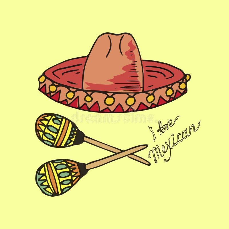 墨西哥的例证 帽子阔边帽和maracas 我爱墨西哥人 向量例证