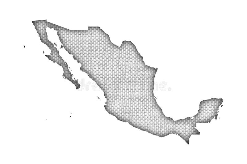 墨西哥的地图老亚麻布的 免版税库存图片