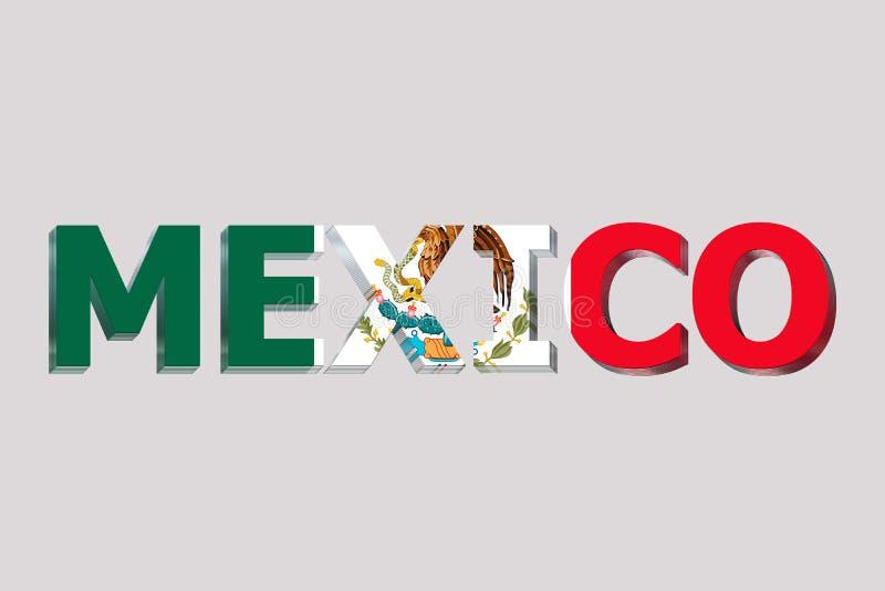 墨西哥的旗子文本的 库存例证