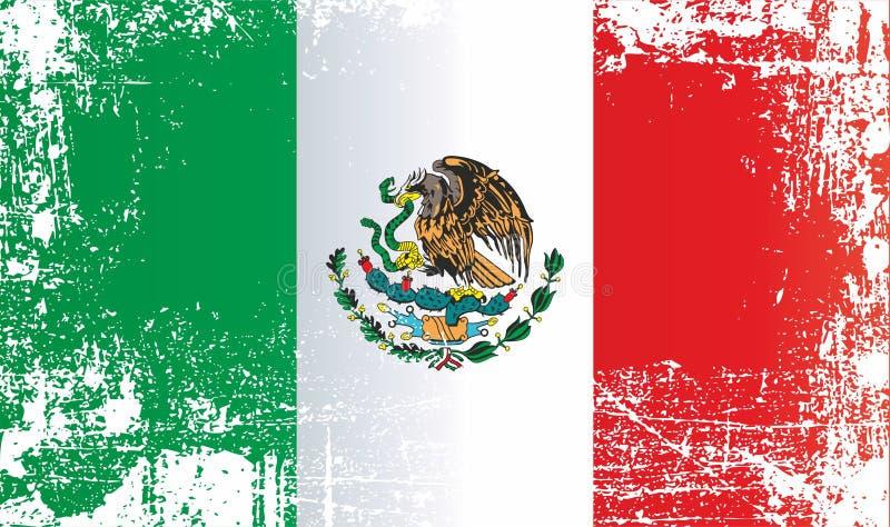 墨西哥的旗子,墨西哥合众国 起皱纹的肮脏的斑点 向量例证