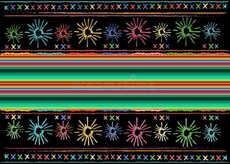 墨西哥种族刺绣部族艺术种族样式 五颜六色的墨西哥毯子条纹民间摘要几何重复的背景 向量例证