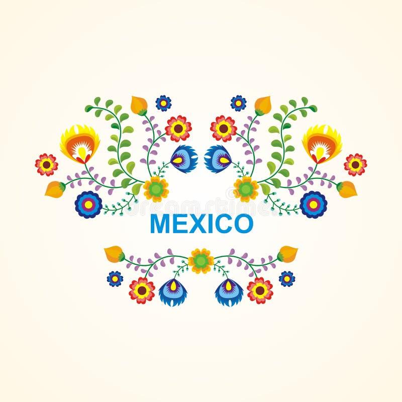 墨西哥种族花框架-边界设计 库存例证