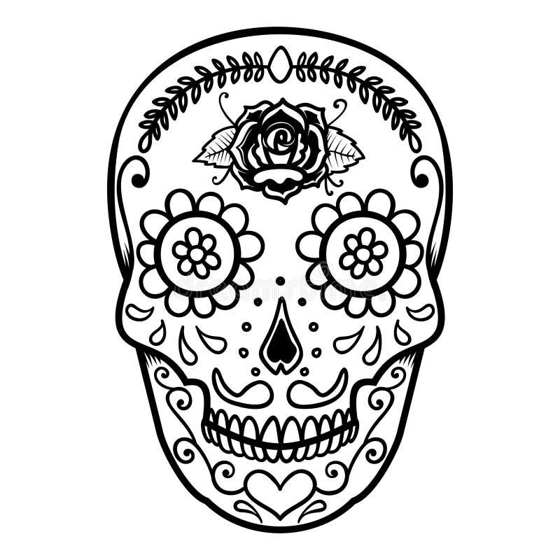 墨西哥糖头骨的例证 停止的日 de dia los muertos 设计商标的,标签,象征,标志,海报, t元素 皇族释放例证