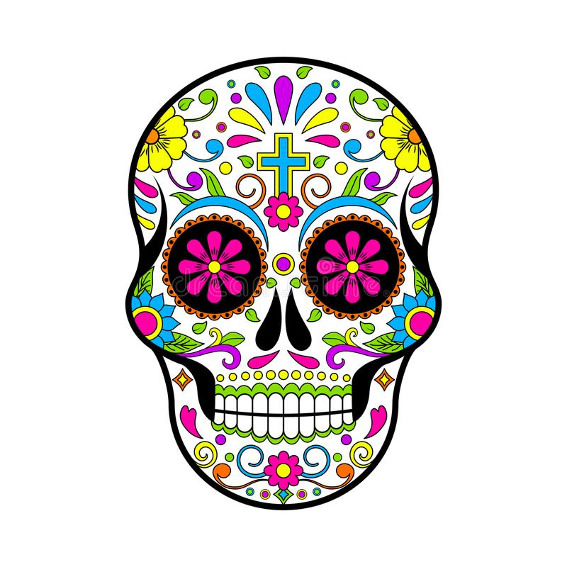 墨西哥糖头骨,死的例证的天在白色背景的 向量例证