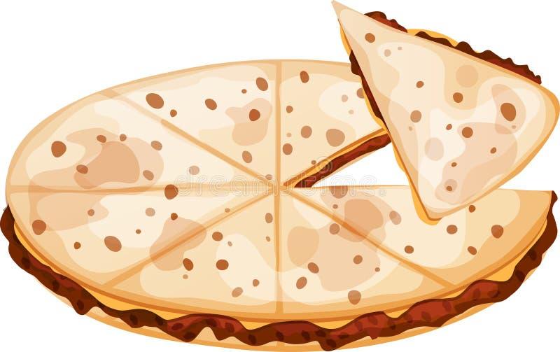 墨西哥绞细牛肉和乳酪油炸玉米粉饼 库存例证