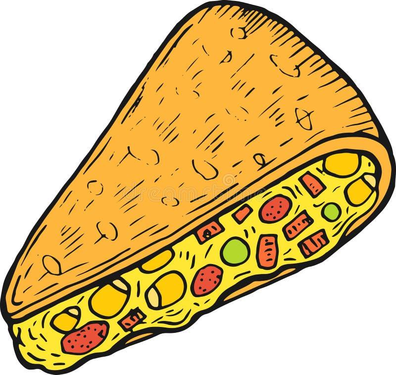墨西哥美食油炸玉米粉饼-五颜六色的剪影 墨水艺术品 图表乱画动画片艺术 r 向量例证