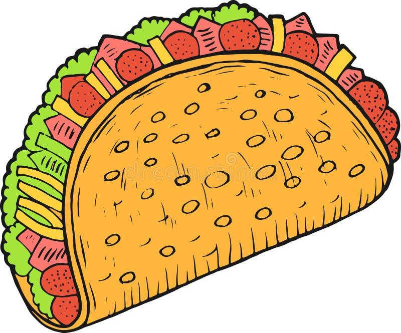 墨西哥美食炸玉米饼-五颜六色的剪影 墨水艺术品 图表乱画动画片艺术 r 皇族释放例证