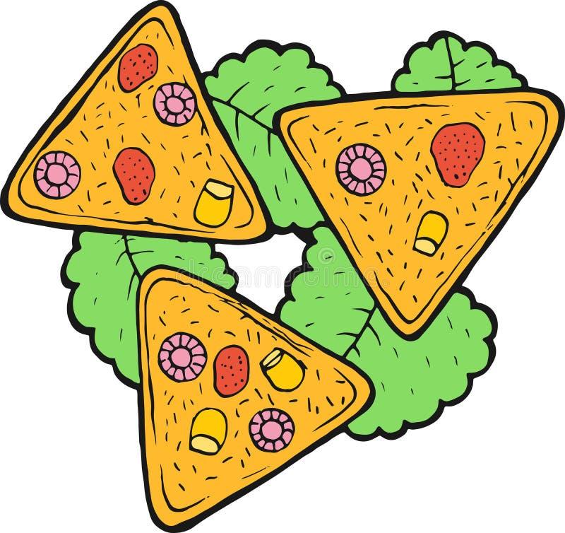 墨西哥美食烤干酪辣味玉米片-五颜六色的剪影 墨水艺术品 图表乱画动画片艺术 r 皇族释放例证