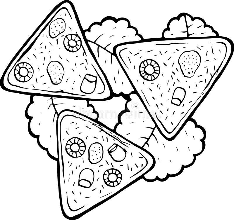 墨西哥美食烤干酪辣味玉米片-成人的上色页 墨水艺术品 图表乱画动画片艺术 r 皇族释放例证