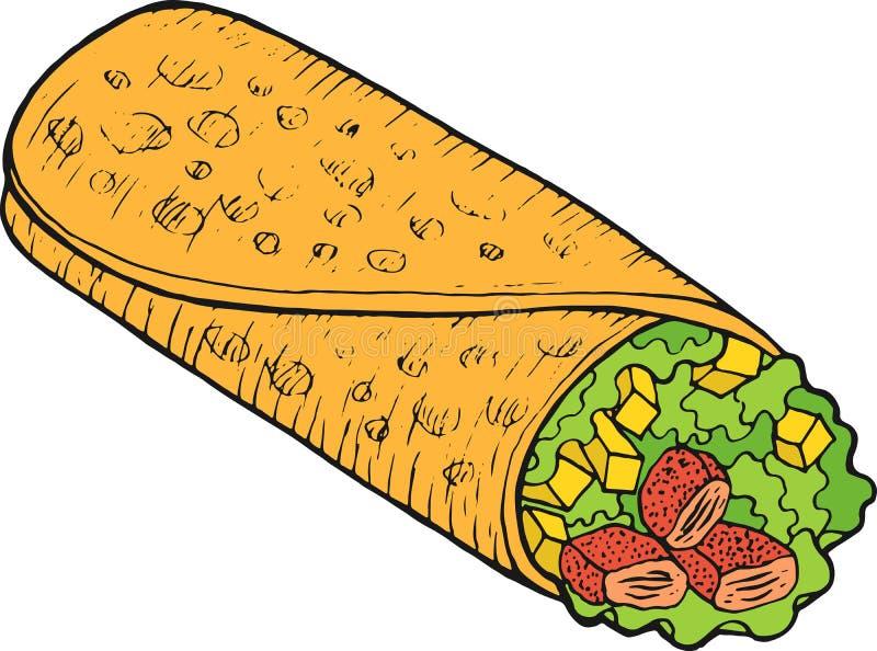 墨西哥美食面卷饼-五颜六色的剪影 墨水艺术品 图表乱画动画片艺术 r 向量例证