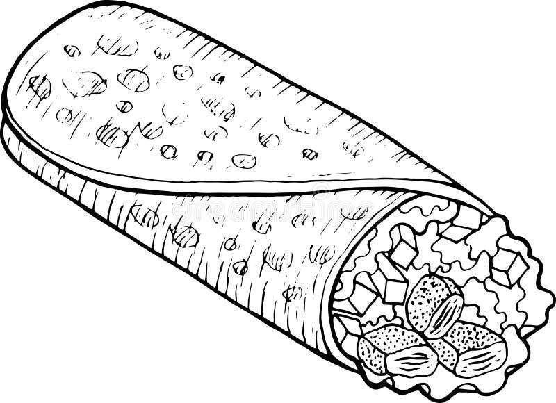墨西哥美食面卷饼-成人的上色页 墨水艺术品 图表乱画动画片艺术 r 库存例证