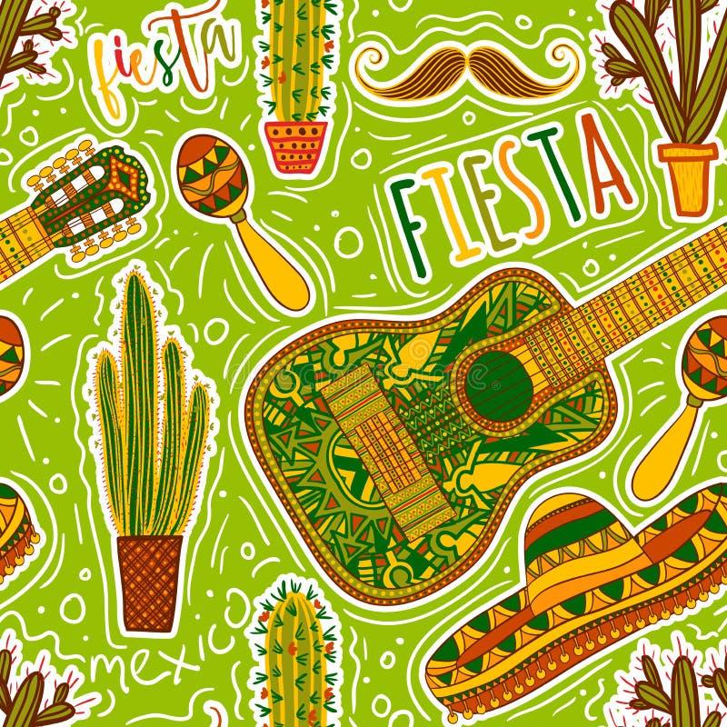 墨西哥节日党 与maracas、阔边帽、髭、仙人掌和吉他的无缝的样式 向量例证