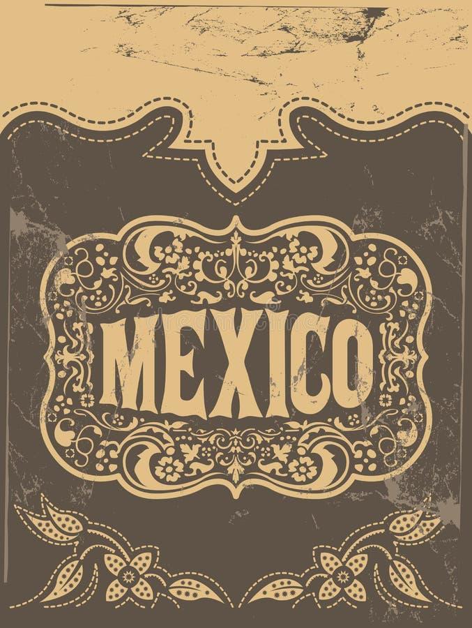墨西哥西部样式,墨西哥题材传染媒介海报卡片模板 库存例证