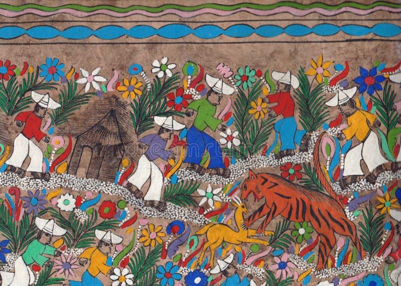 墨西哥设计羊皮纸:老虎狩猎 免版税库存图片